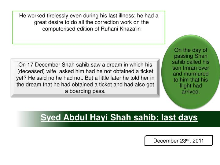 On the day of passing Shah sahib called his son Imran over and murmured to him that his flight had