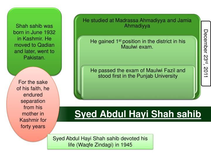 Shah sahib was born in June 1932 in Kashmir.