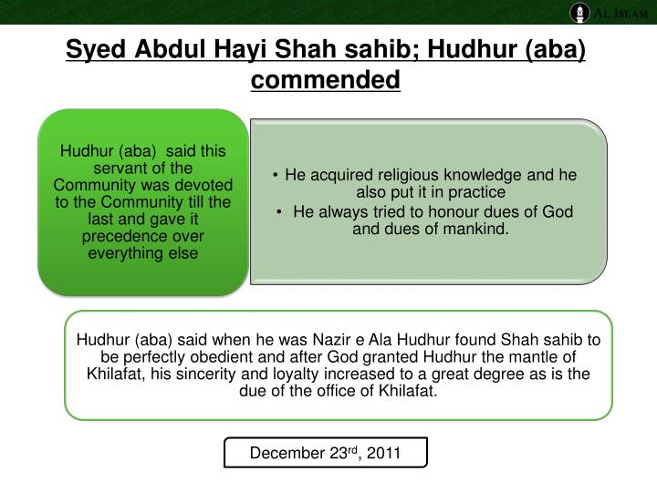 Syed Abdul Hayi Shah sahib; Hudhur (aba) commended