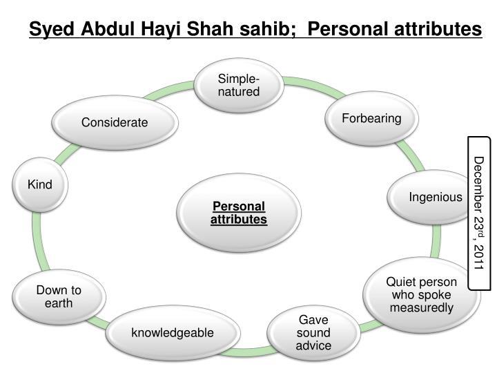 Syed Abdul Hayi Shah sahib;  Personal attributes