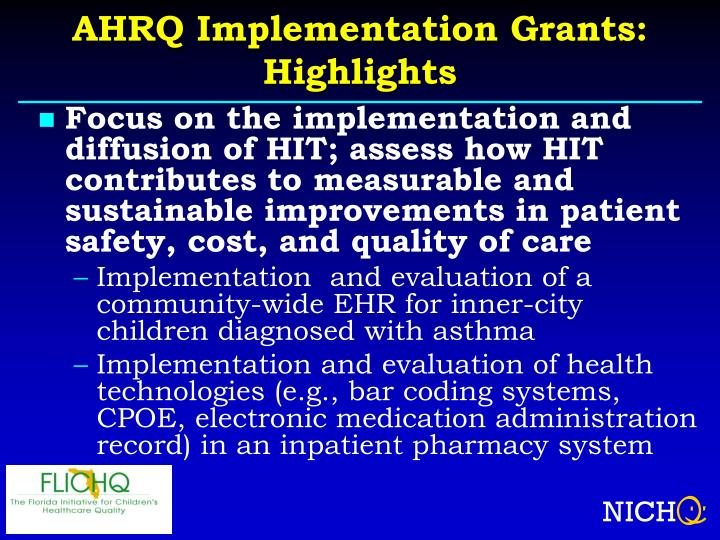 AHRQ Implementation Grants: Highlights