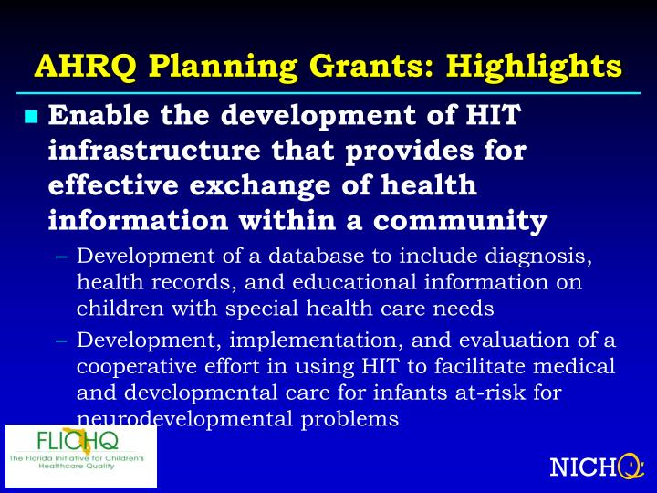 AHRQ Planning Grants: Highlights