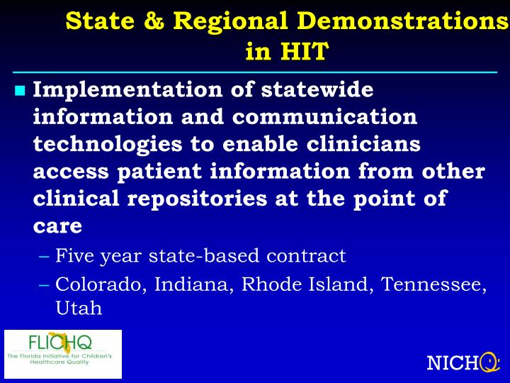 State & Regional Demonstrations in HIT