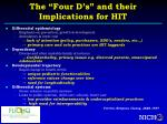the four d s and their implications for hit