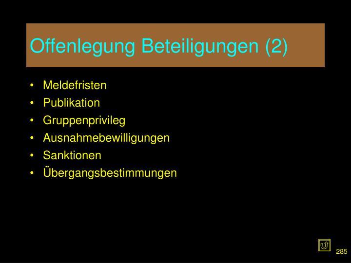 Offenlegung Beteiligungen (2)