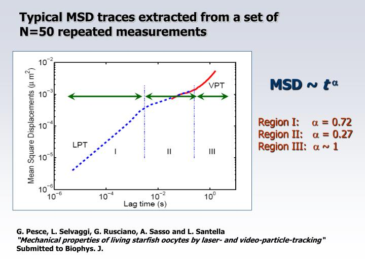 Typical MSD traces extracted from a set of N=50 repeated measurements