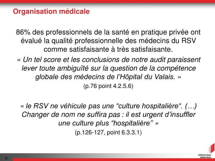 Organisation médicale