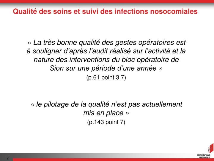 Qualité des soins et suivi des infections nosocomiales