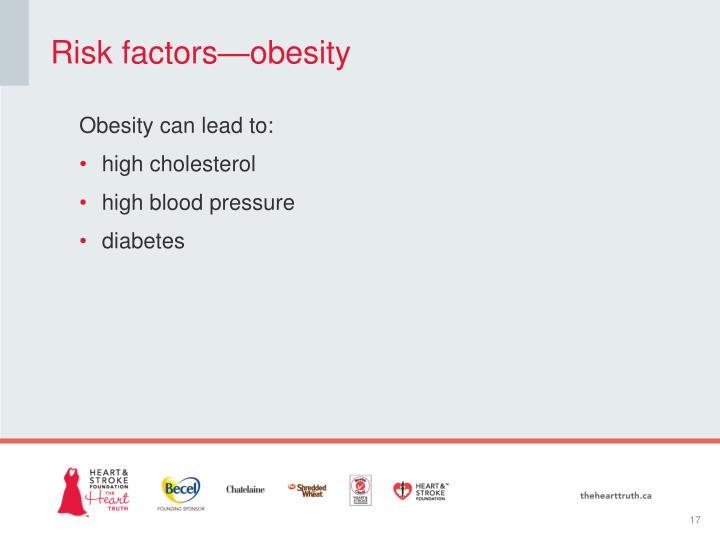 Risk factors—obesity
