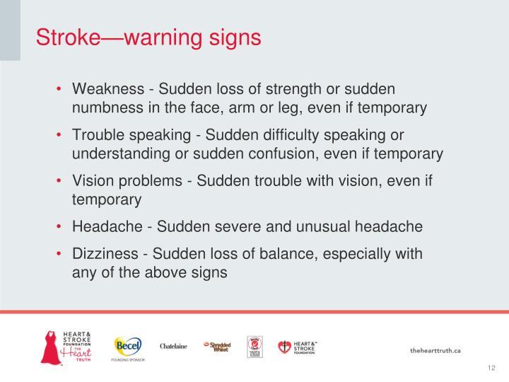 Stroke—warning signs