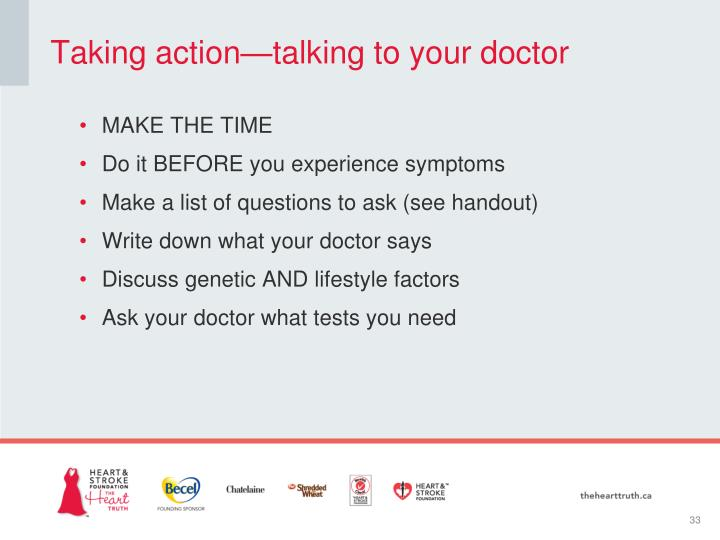 Taking action—talking to your doctor