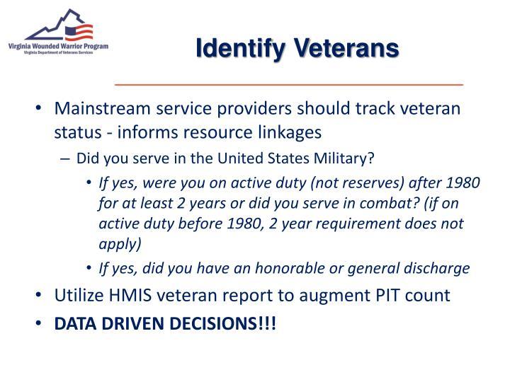Identify Veterans