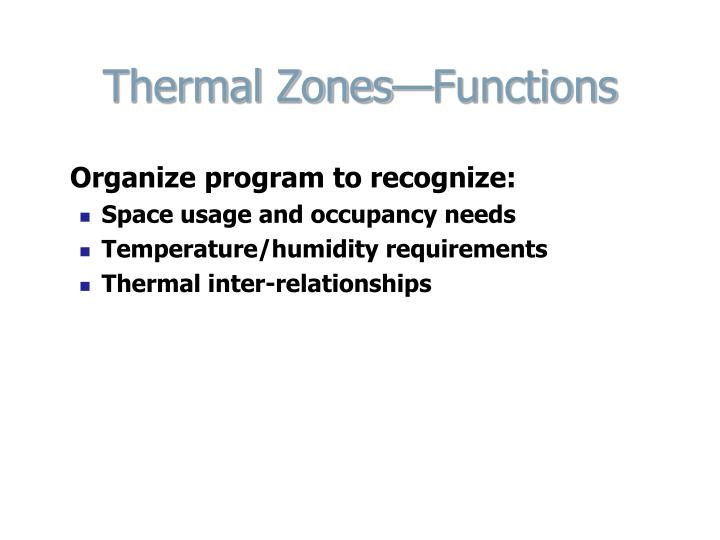 Thermal Zones—Functions