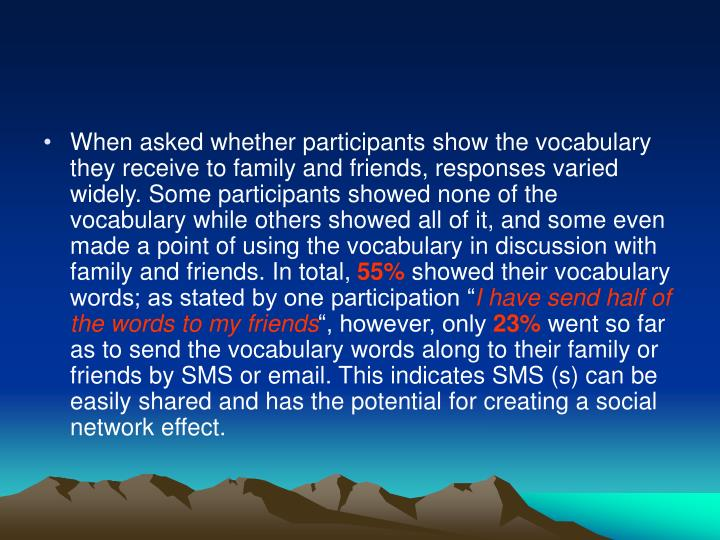When asked whether participants show the vocabulary they receive to family and friends, responses varied widely. Some participants showed none of the vocabulary while others showed all of it, and some even made a point of using the vocabulary in discussion with family and friends. In total,