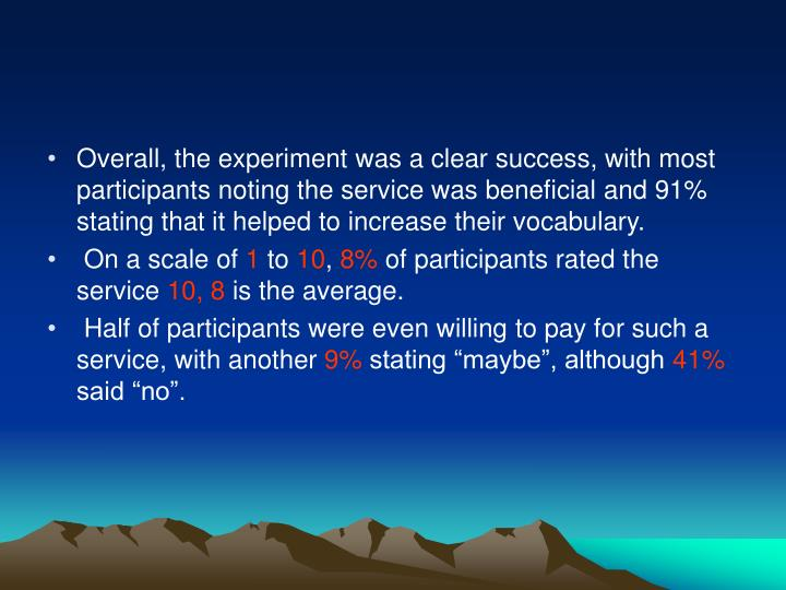 Overall, the experiment was a clear success, with most participants noting the service was beneficial and 91% stating that it helped to increase their vocabulary.