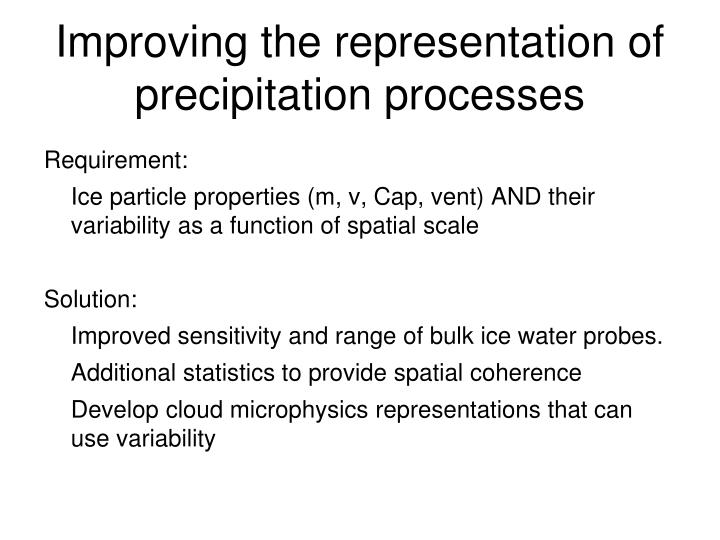 Improving the representation of precipitation processes