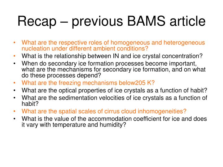 Recap – previous BAMS article