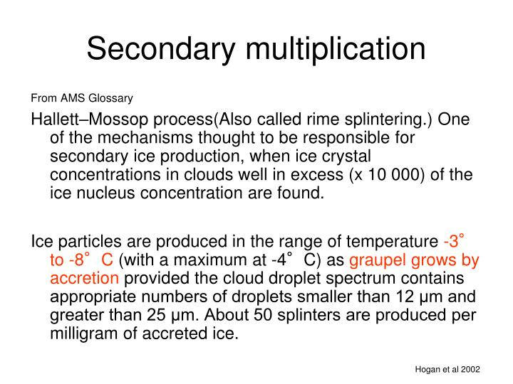 Secondary multiplication