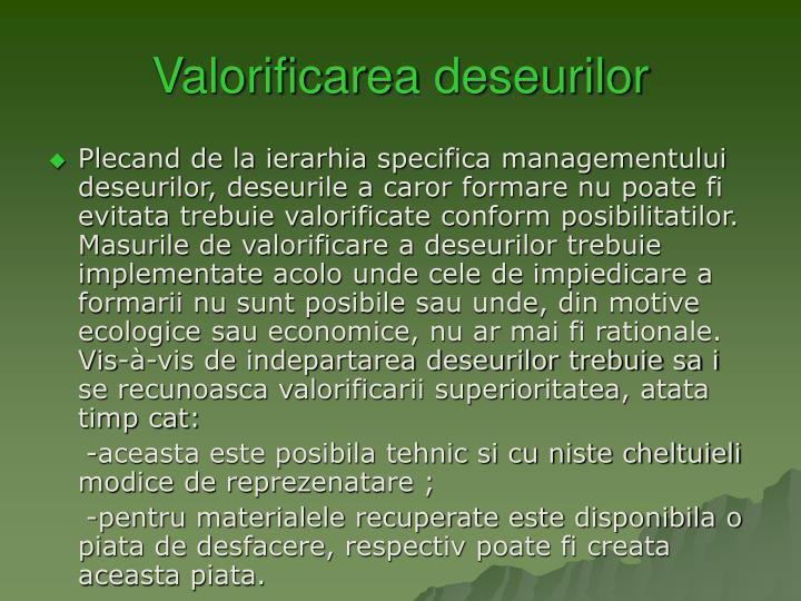 Valorificarea deseurilor