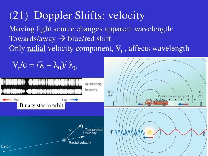 (21)  Doppler Shifts: velocity