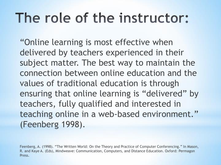 The role of the instructor