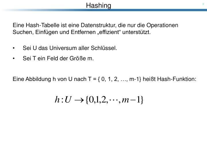 Eine Hash-Tabelle ist eine Datenstruktur, die nur die Operationen