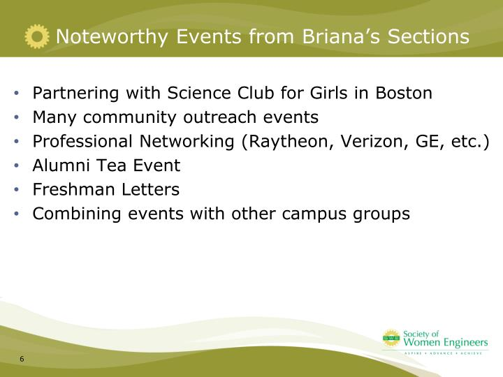 Noteworthy Events from Briana's Sections