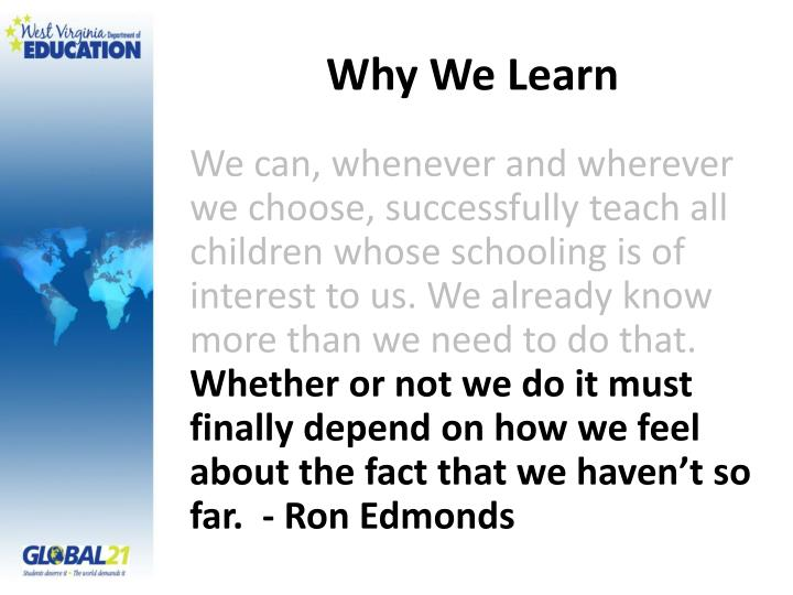 Why We Learn