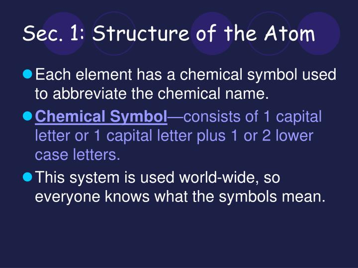 Sec. 1: Structure of the Atom