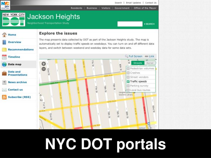 NYC DOT portals