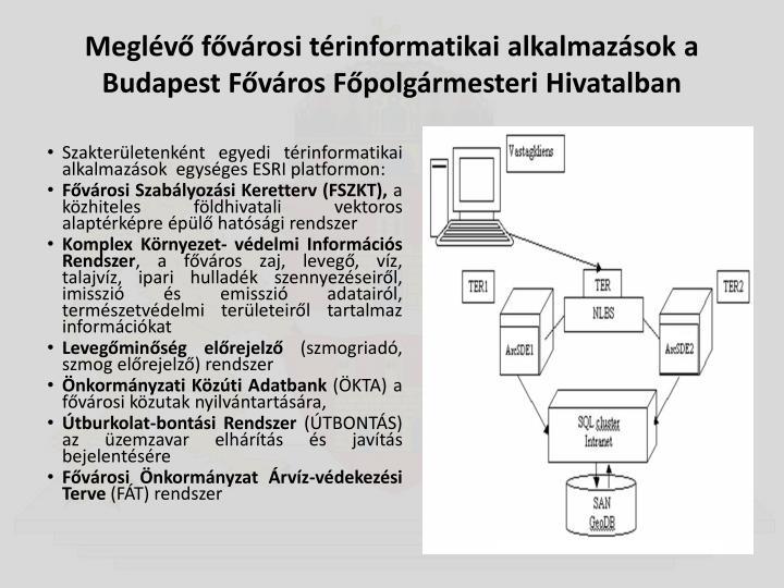 Meglévő fővárosi térinformatikai alkalmazások a