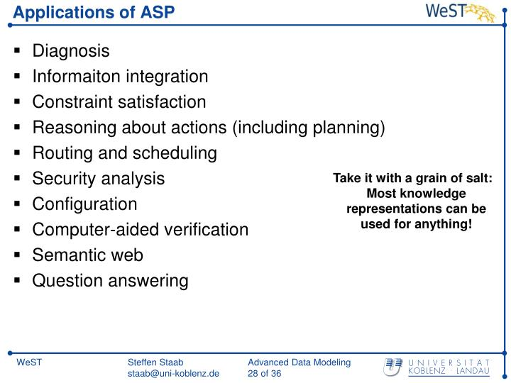 Applications of ASP
