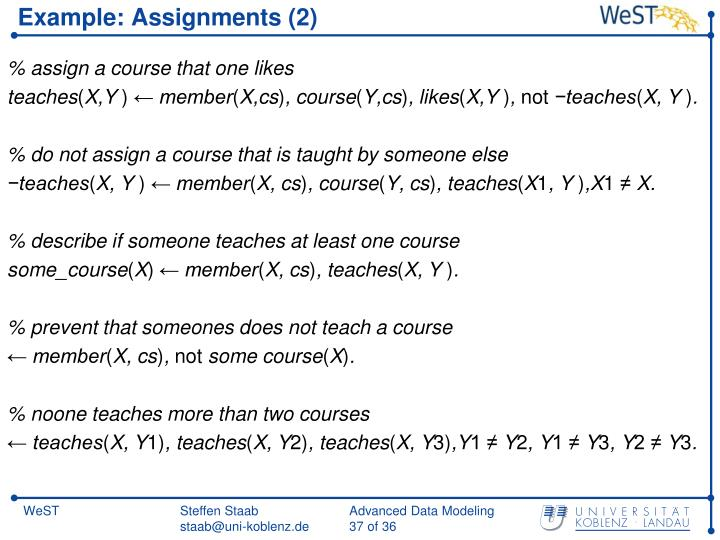 Example: Assignments (2)