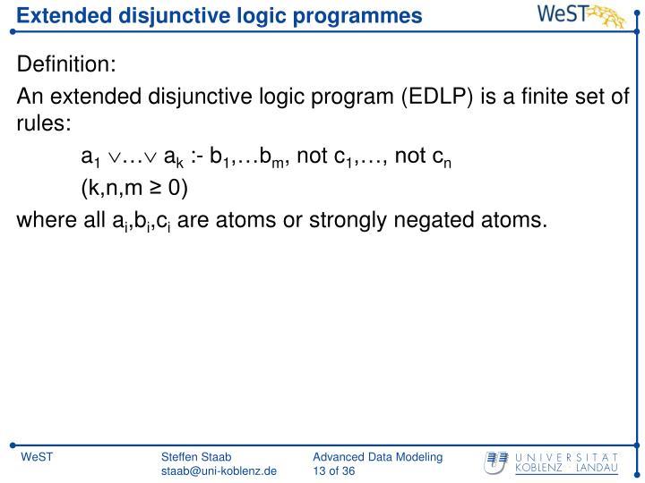 Extended disjunctive logic programmes