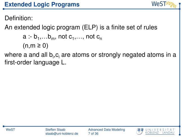 Extended Logic Programs