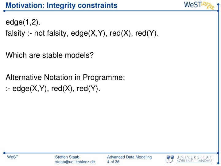 Motivation: Integrity constraints