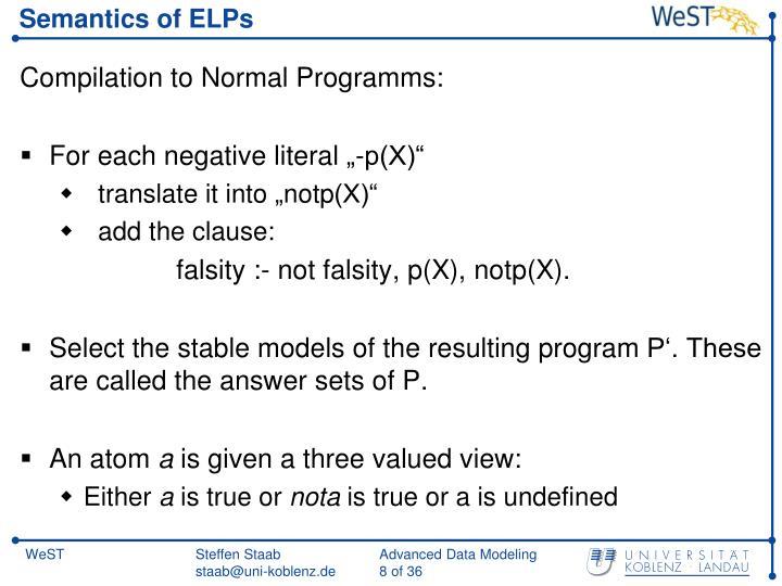 Semantics of ELPs