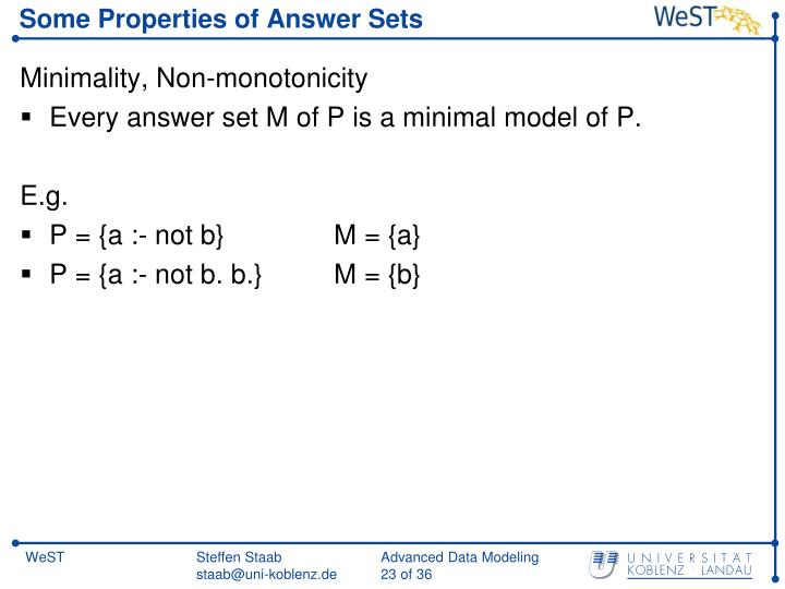 Some Properties of Answer Sets