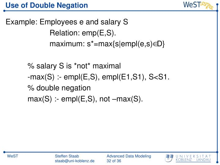 Use of Double Negation