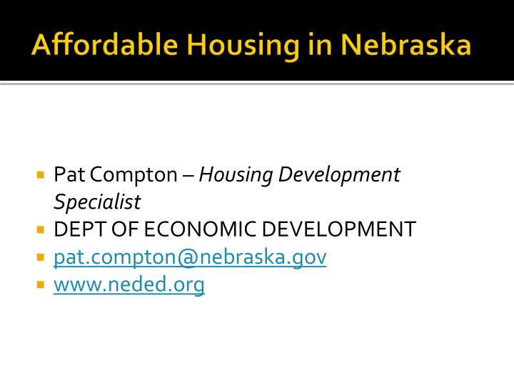 Affordable housing in nebraska