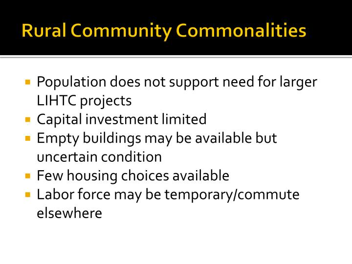 Rural Community Commonalities