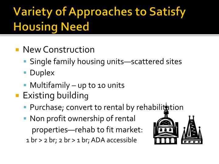 Variety of Approaches to Satisfy Housing Need