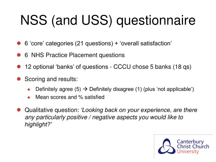 NSS (and USS) questionnaire