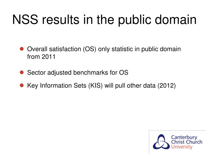 NSS results in the public domain