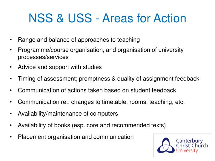 NSS & USS - Areas for Action