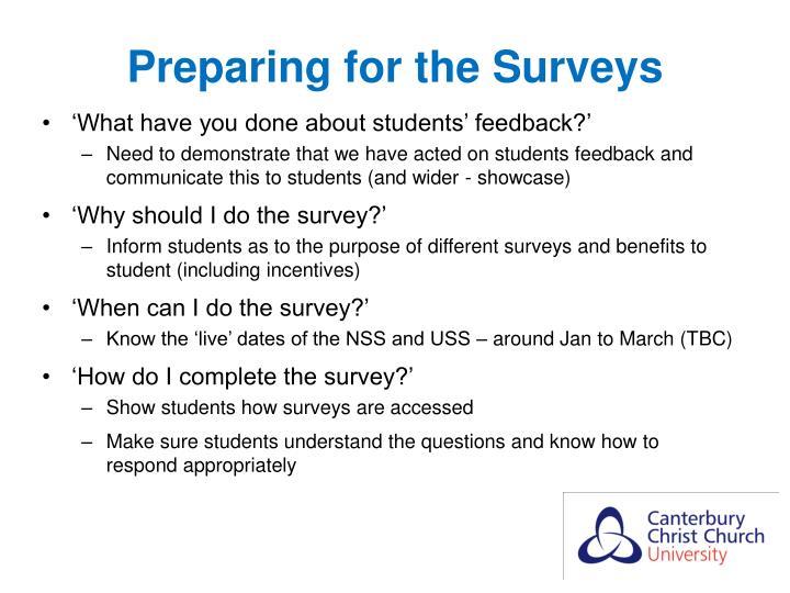 Preparing for the Surveys