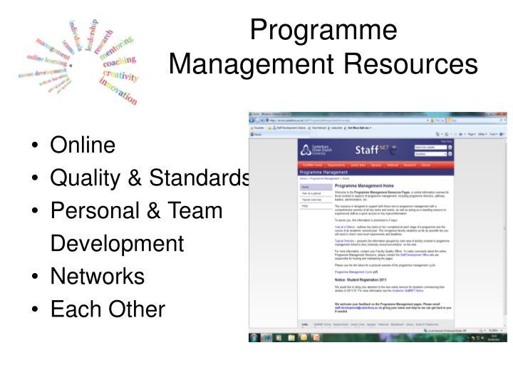 Programme Management Resources