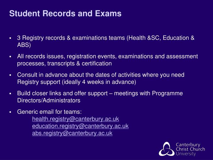 Student Records and Exams