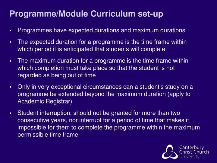 Programme/Module Curriculum set-up