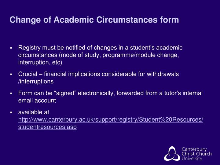 Change of Academic Circumstances form